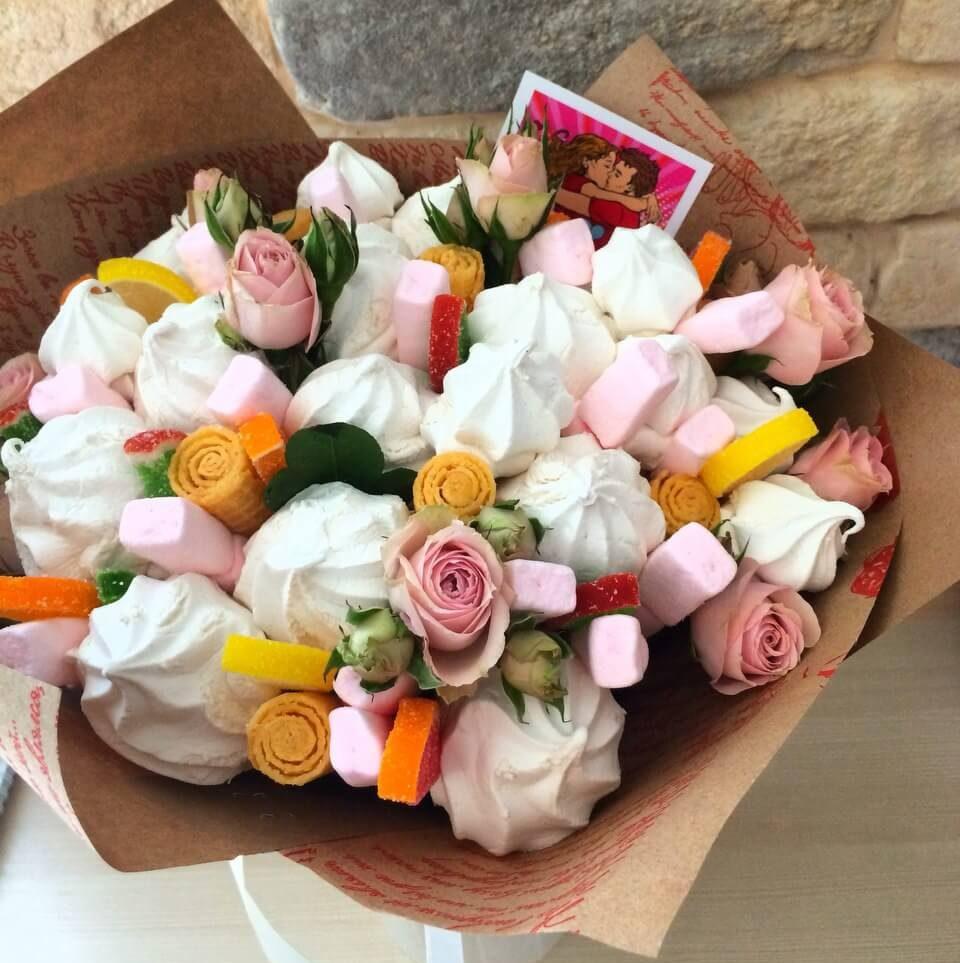 Цветов барнаул, букет из зефира и живых цветов