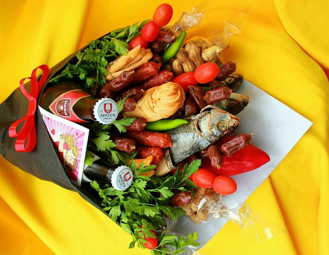Мужские букеты из еды екатеринбург, ампельные цветы кашпо